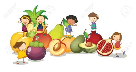 clipart child eating healthy vegetables fruits