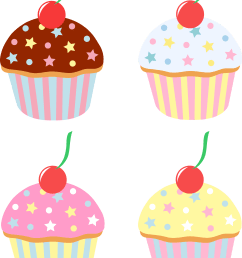 5400x7295 four cupcakes with cherries and sprinkles [ 5400 x 7295 Pixel ]