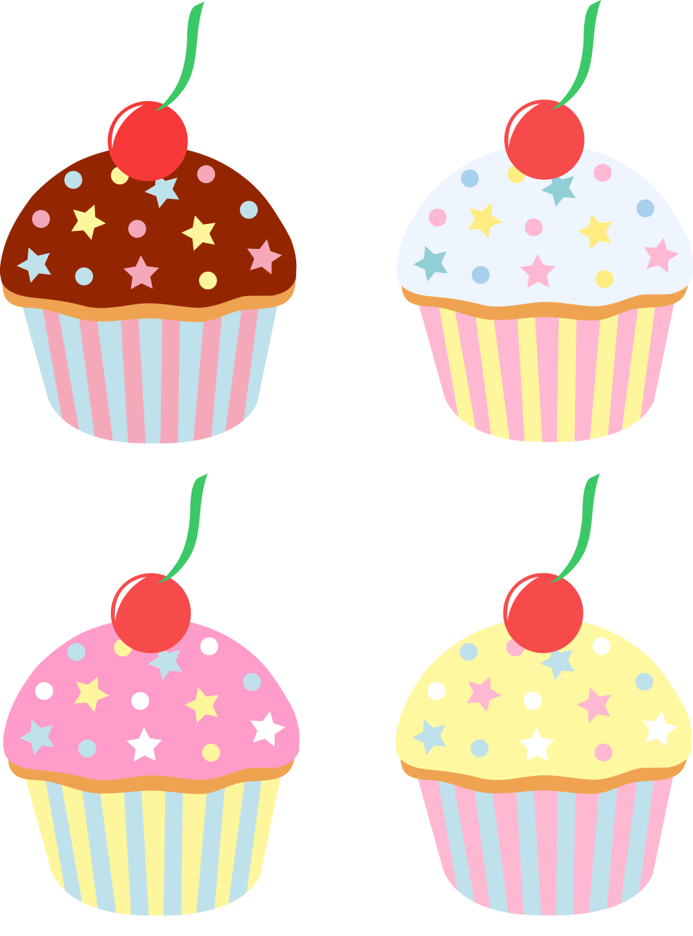 medium resolution of 5400x7295 four cupcakes with cherries and sprinkles