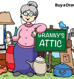 1500x1068 cartoon granny attic and yard sale drawing for church flyer [ 1500 x 1068 Pixel ]