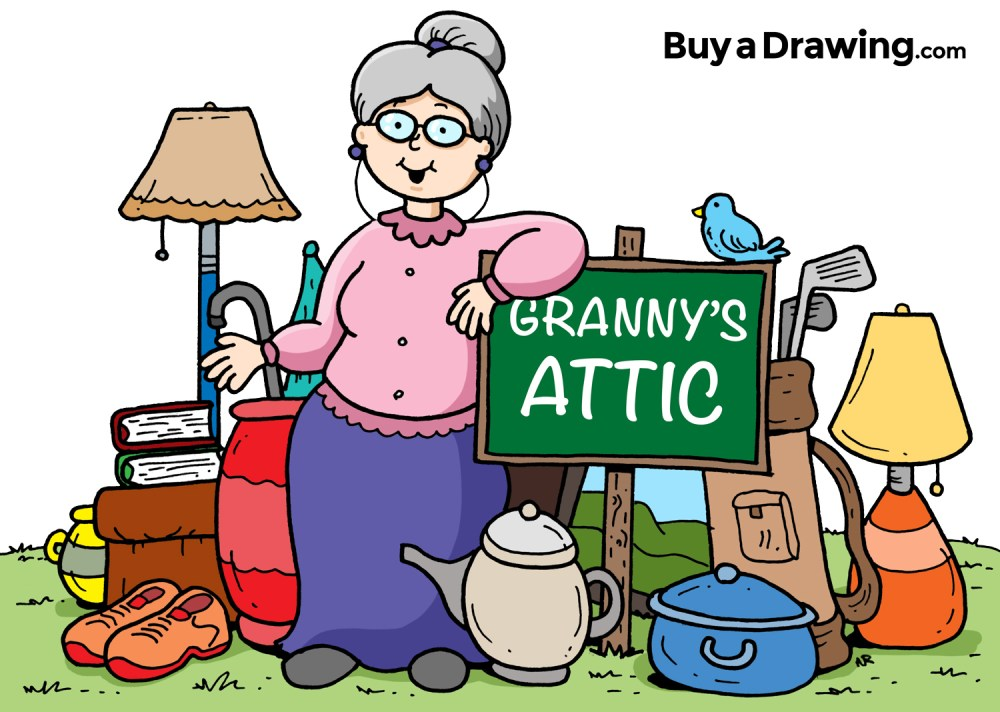 medium resolution of 1500x1068 cartoon granny attic and yard sale drawing for church flyer