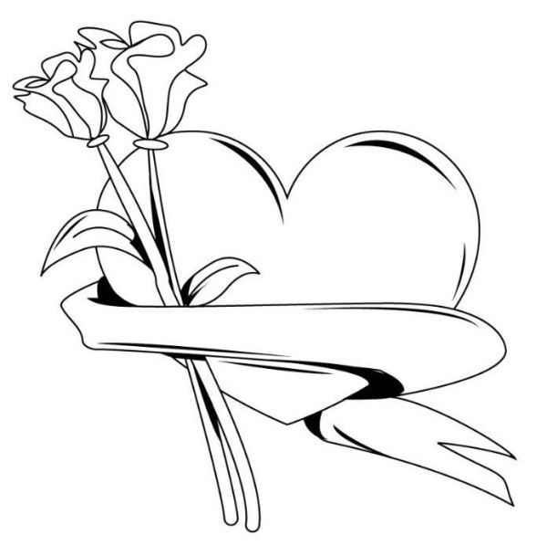 Hearts And Roses Coloring Pages Of Advanced