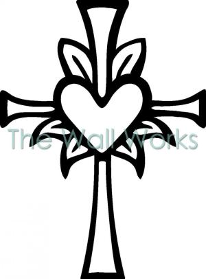 cross heart crosses drawings clip decal cool draw christian middle flowers rose drawing clipart religious coloring decals vinyl easy designs