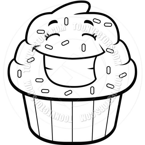 cupcakes clipart black and white