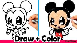 mickey mouse drawing minnie draw drawings easy step fun2draw crayola markers chibi cartoon pencil ariana grande mice kawaii sketches colors