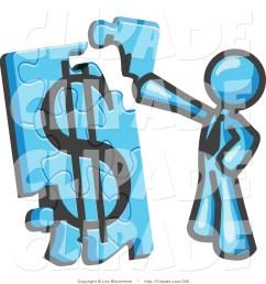 1024x1044 clip art of a light blue businessman piecing a dollar sign puzzle [ 1024 x 1044 Pixel ]
