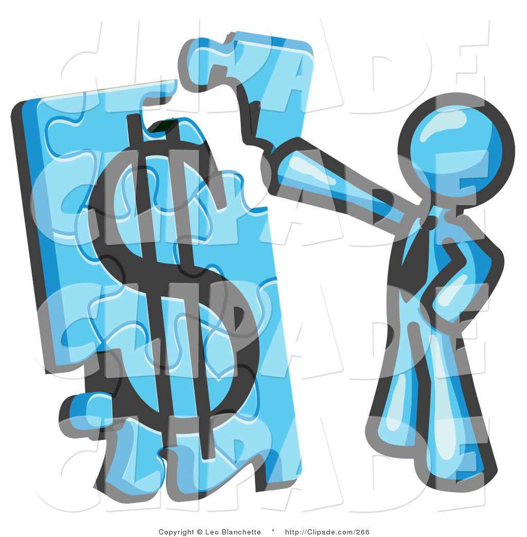 hight resolution of 1024x1044 clip art of a light blue businessman piecing a dollar sign puzzle