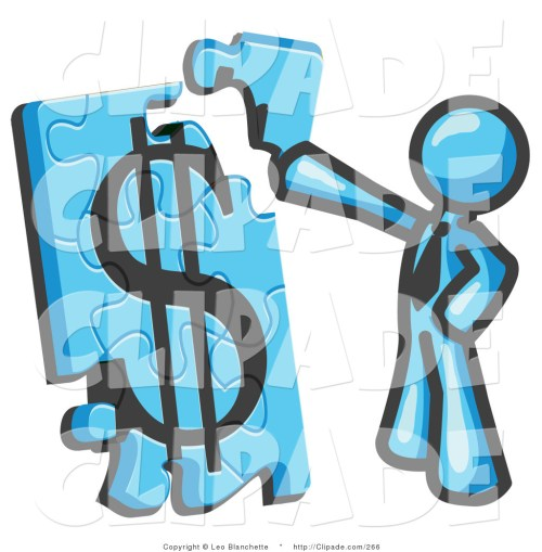 small resolution of 1024x1044 clip art of a light blue businessman piecing a dollar sign puzzle