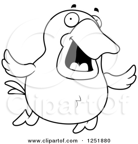 duck black and white clipart