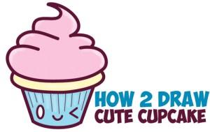 cartoon draw kawaii cupcake easy drawing drawings face step cake simple cup clipartmag paintingvalley getdrawings tutorial