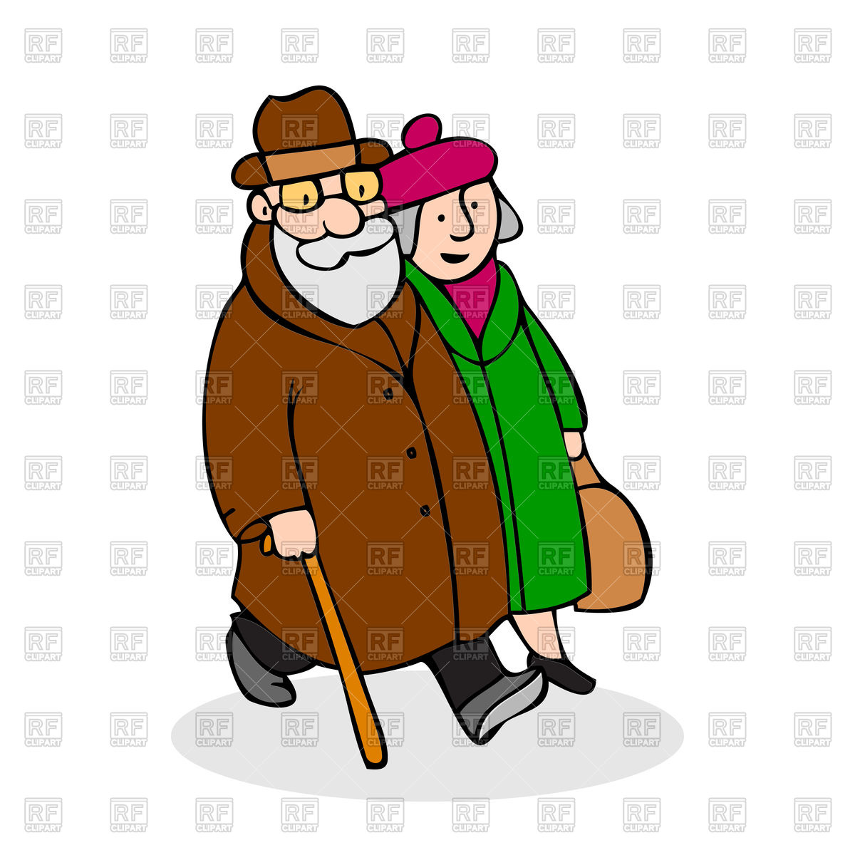 hight resolution of 1200x1200 happy elderly couple walking royalty free vector clip art image