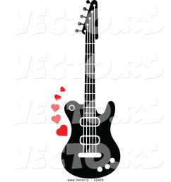 1024x1044 vector of a black and white electric guitar with red love hearts [ 1024 x 1044 Pixel ]