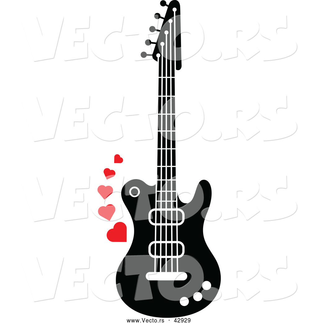 hight resolution of 1024x1044 vector of a black and white electric guitar with red love hearts
