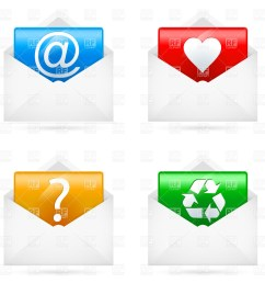 1200x1200 e mail icons set royalty free vector clip art image [ 1200 x 1200 Pixel ]