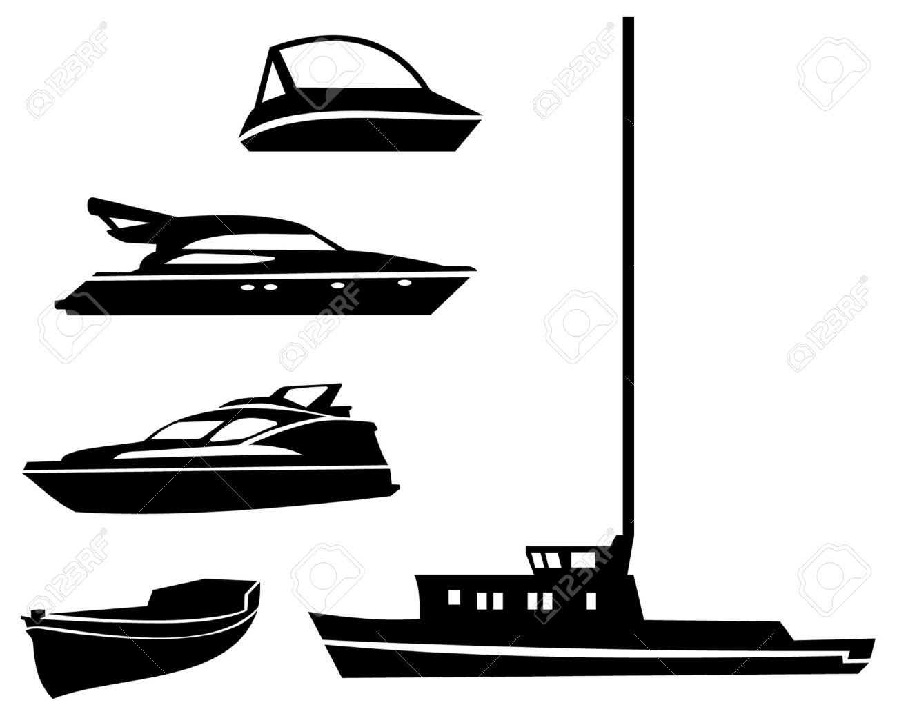 Fishing Boat Clipart Black White