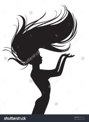 flowing hair silhouette free