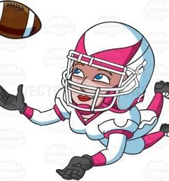 1024x911 a female football player catching the ball cartoon clipart [ 1024 x 911 Pixel ]