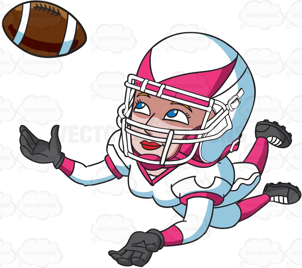 hight resolution of 1024x911 a female football player catching the ball cartoon clipart