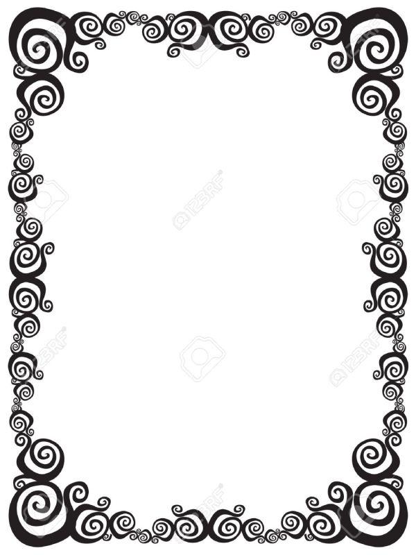 Black and White Swirl Frame Clip Art
