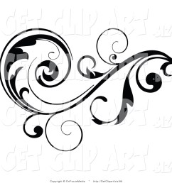 1024x1044 clip art of a black leafy vine design accent with scrolling leaves [ 1024 x 1044 Pixel ]