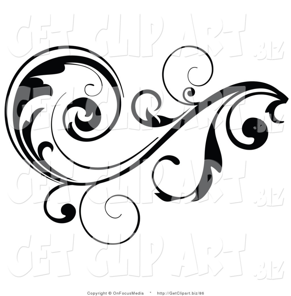 medium resolution of 1024x1044 clip art of a black leafy vine design accent with scrolling leaves