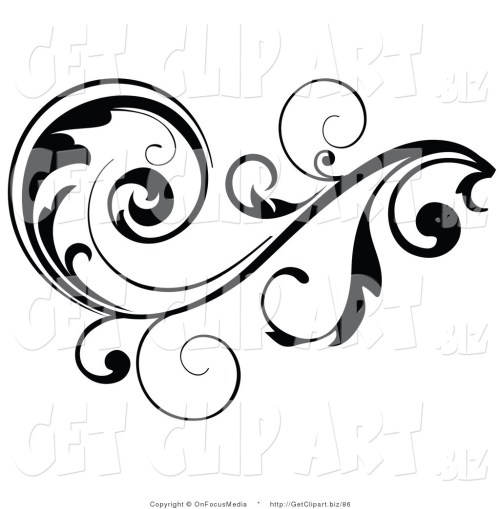 small resolution of 1024x1044 clip art of a black leafy vine design accent with scrolling leaves