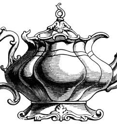1845x1389 victorian tea pot illustration vintage teapot clipart black [ 1845 x 1389 Pixel ]
