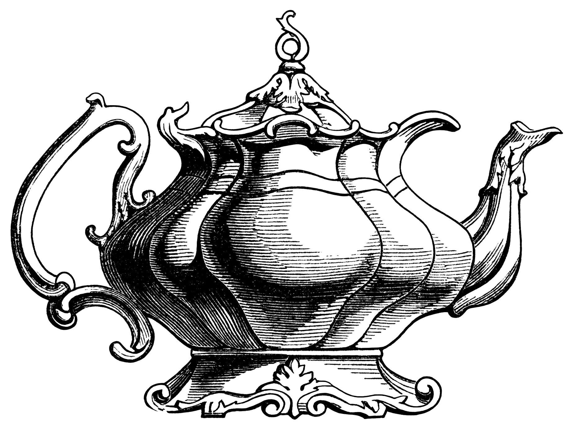hight resolution of 1845x1389 victorian tea pot illustration vintage teapot clipart black