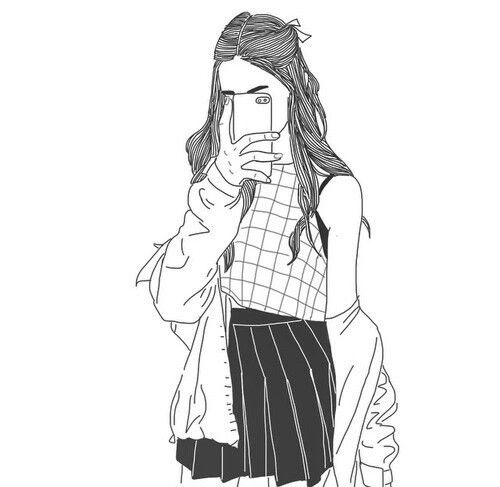 girl outline drawing free