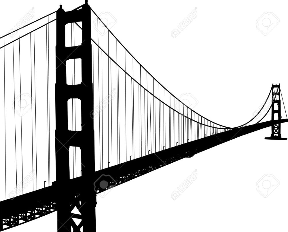 medium resolution of 1300x1050 golden gate clipart black and white