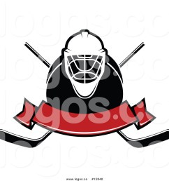 1024x1044 royalty free vector logo of a hockey banner with mask puck  [ 1024 x 1044 Pixel ]