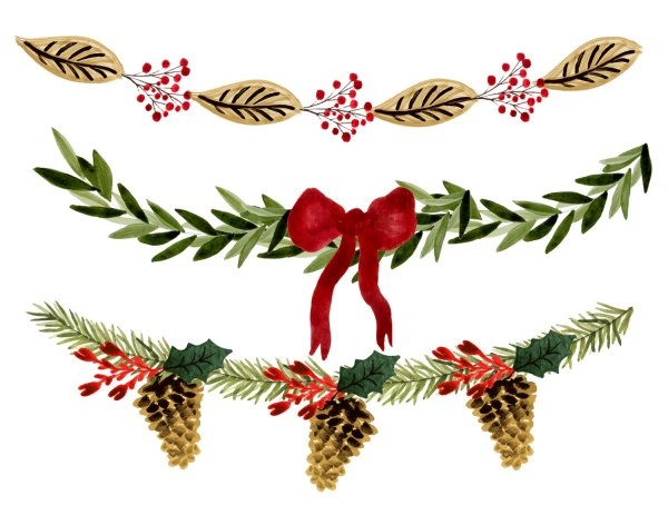 holiday garland clipart free