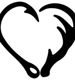 3000x2400 fish hook and antler heart silhouette clipart png and svg [ 3000 x 2400 Pixel ]