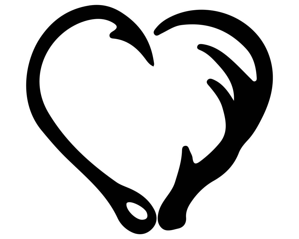 medium resolution of 3000x2400 fish hook and antler heart silhouette clipart png and svg