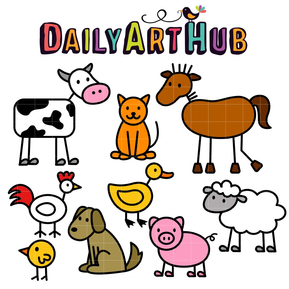 medium resolution of 2500x2500 stick farm animals clip art set slegs hond knk kan verwerk word