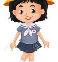 744x1300 japanese girl in school uniform illustration royalty free cliparts [ 744 x 1300 Pixel ]