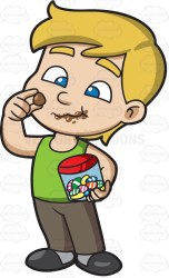 clipart boy candy eating chocolate child hair chocolates kid eyes easter lot cartoon eats jar clip eat young egg cotton