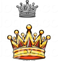 1024x1044 royalty free vector logo of a gold royal crown with red gems [ 1024 x 1044 Pixel ]