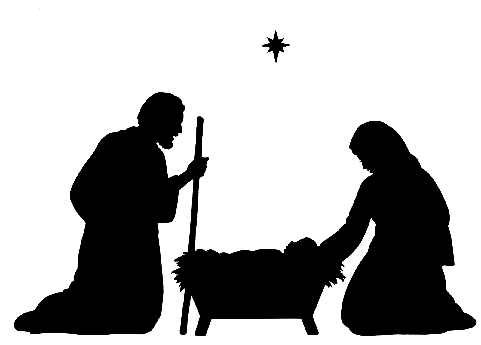 hight resolution of nativity scene clipart black and white