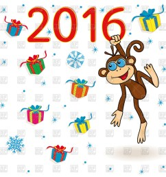1200x1200 new year 2016 greeting card with cute monkey royalty free vector [ 1200 x 1200 Pixel ]