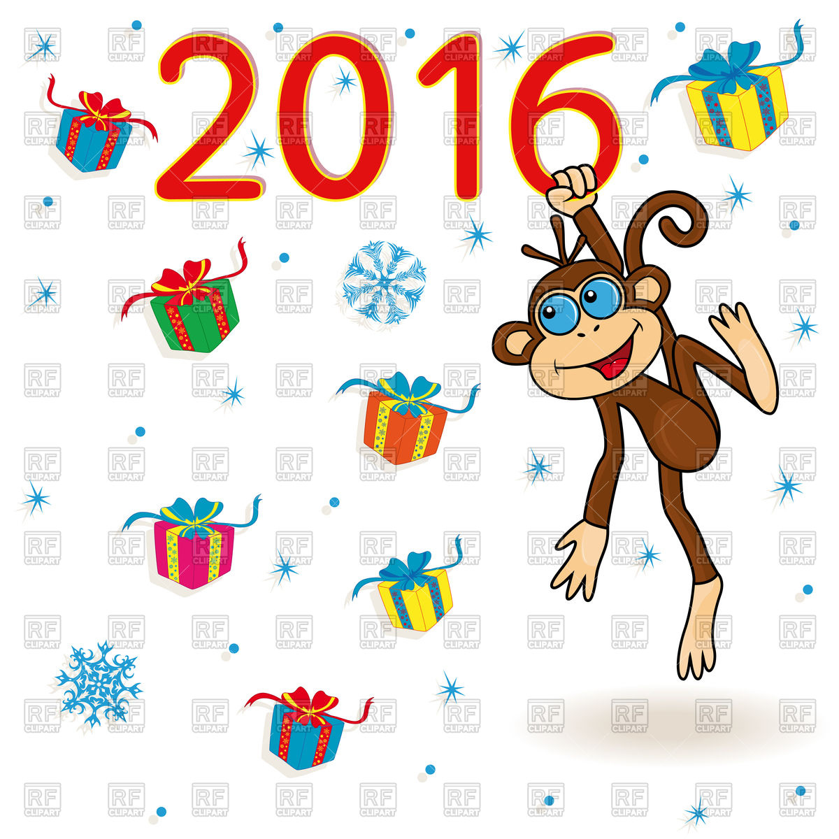 hight resolution of 1200x1200 new year 2016 greeting card with cute monkey royalty free vector