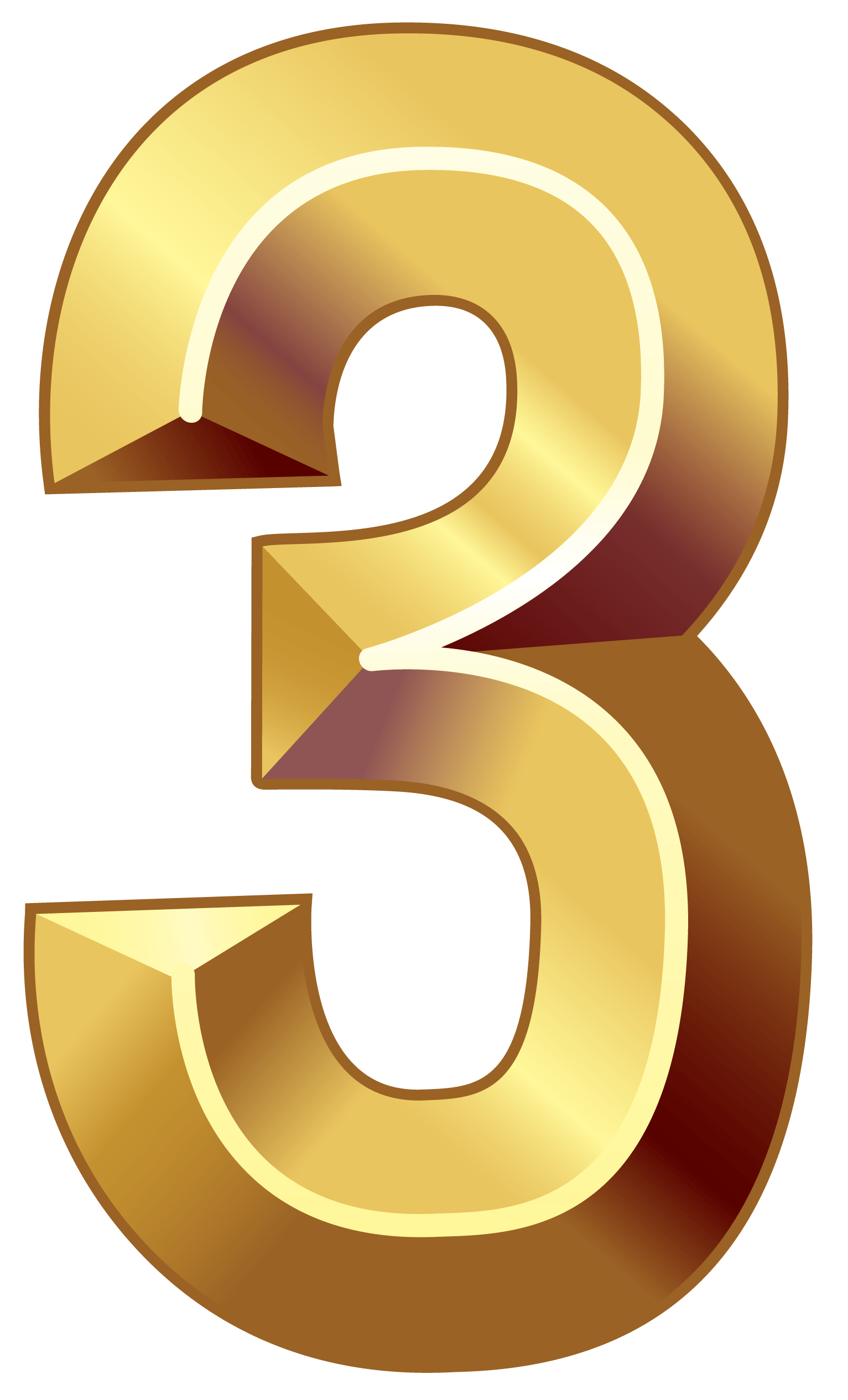 hight resolution of 1533x2530 gold number three png clipart image numbers64 gold