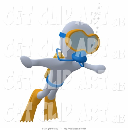 small resolution of 1024x1044 3d clip art of a white man swimming underwater while scuba diving