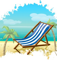 1500x850 palm tree and beach chair holiday free vector amp clipart design [ 1500 x 850 Pixel ]