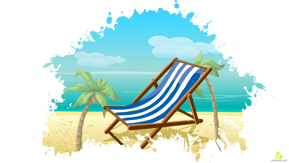 medium resolution of 1500x850 palm tree and beach chair holiday free vector amp clipart design
