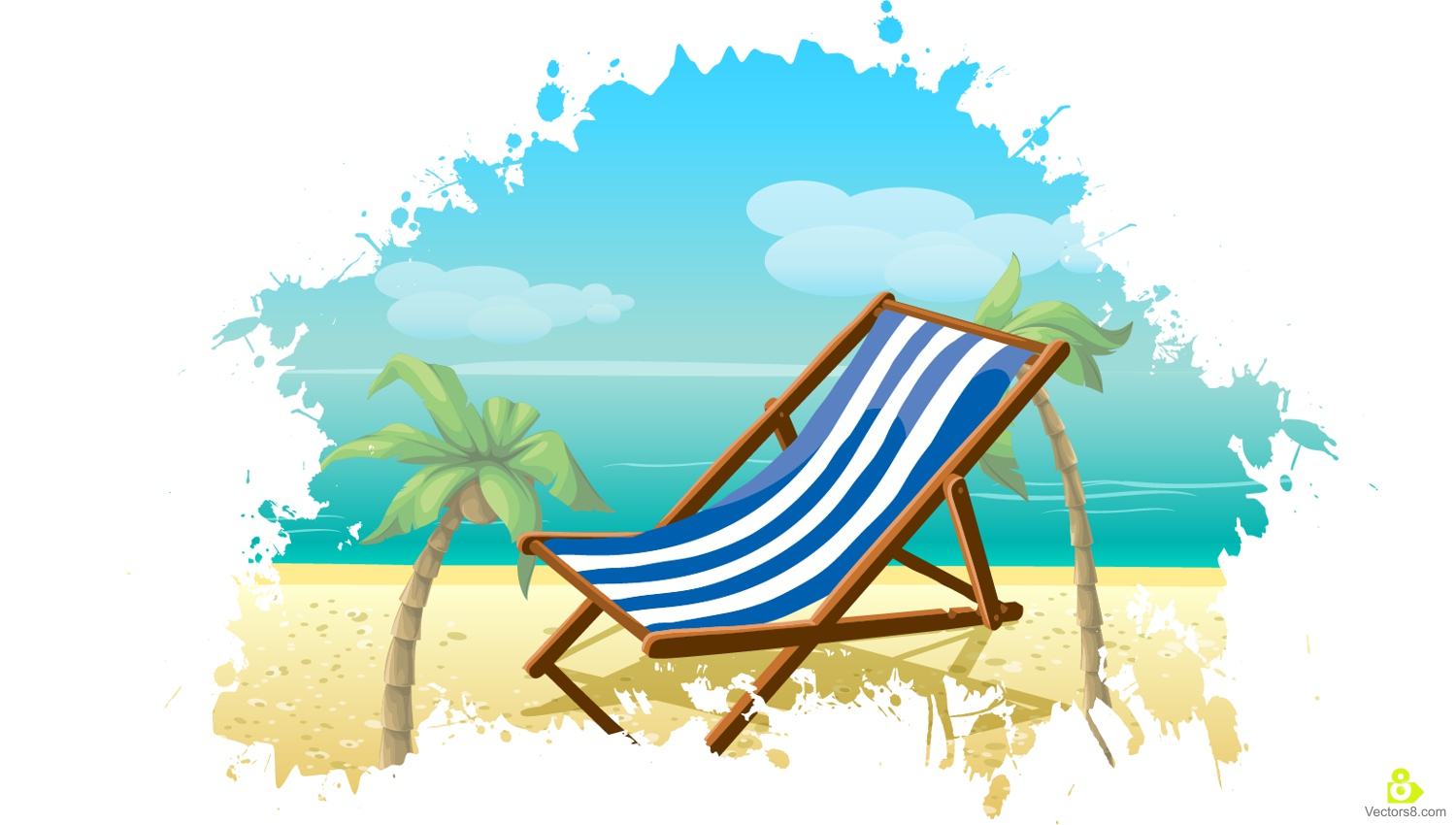 hight resolution of 1500x850 palm tree and beach chair holiday free vector amp clipart design