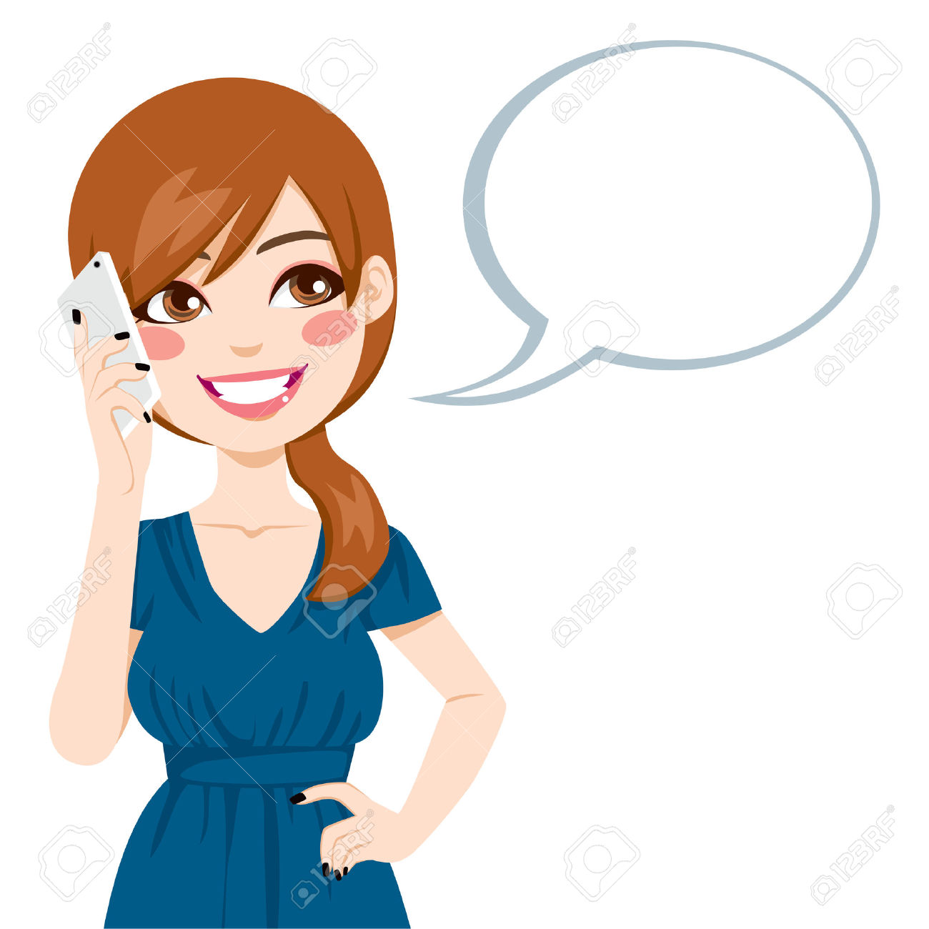 Cartoon Guy Talking Phone