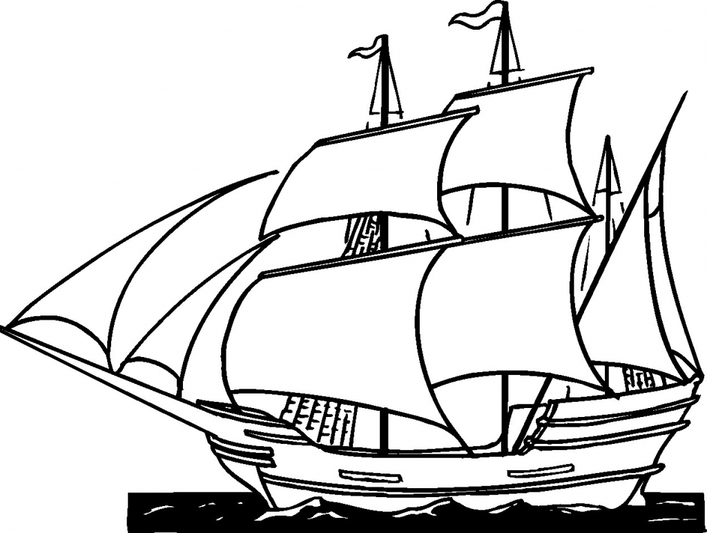 Pirate Ship Clipart Black And White