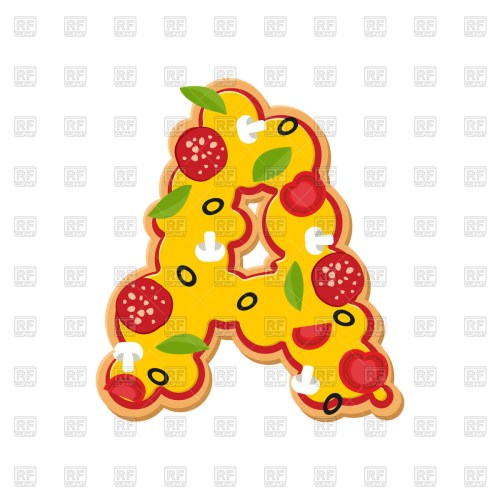 small resolution of 1200x1200 letter a pizza font royalty free vector clip art image