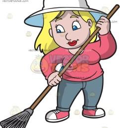 838x1024 a woman using a leaf rake cartoon clipart [ 838 x 1024 Pixel ]